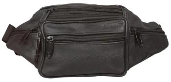 Bæltetaske sort læder look - med 7 rum.