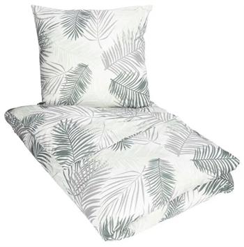 Sengetøj 140x200 cm - Palm - Hvid og grøn - 100% Bomuld