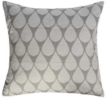 Pudebetræk 60x63 cm - Dråber - grå og hvid - 100% Bomuldssatin