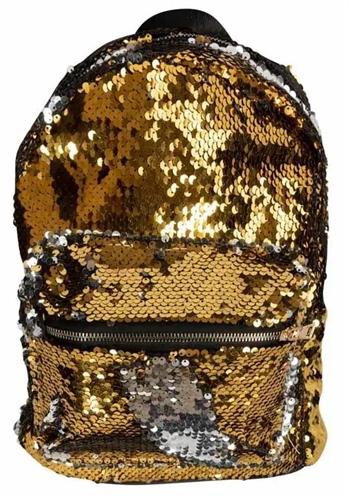 Børnerygsæk – Praktisk taske med pallietter – Guld og sølv