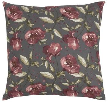 Pudebetræk 60x63 cm - Flower Red - Grå - 100% Bomuld