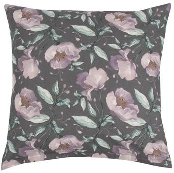 Pudebetræk 60x63 cm - Flower Lilac - Grå - 100% Bomuld