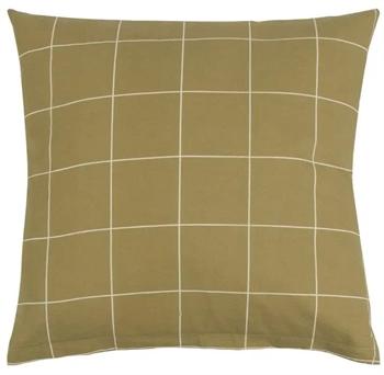 Pudebetræk 60x63 cm - Check Olive - Grøn - 100% Bormuld